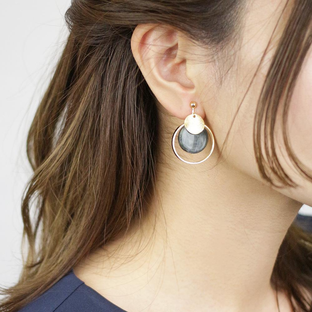 Metal Hoop Marble Acrylic Clip On Earrings