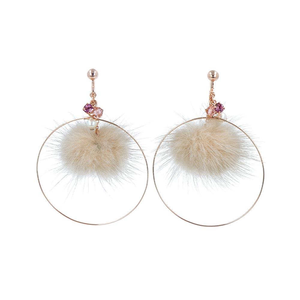 Pom Pom Hoop Clip On Earrings - Osewaya