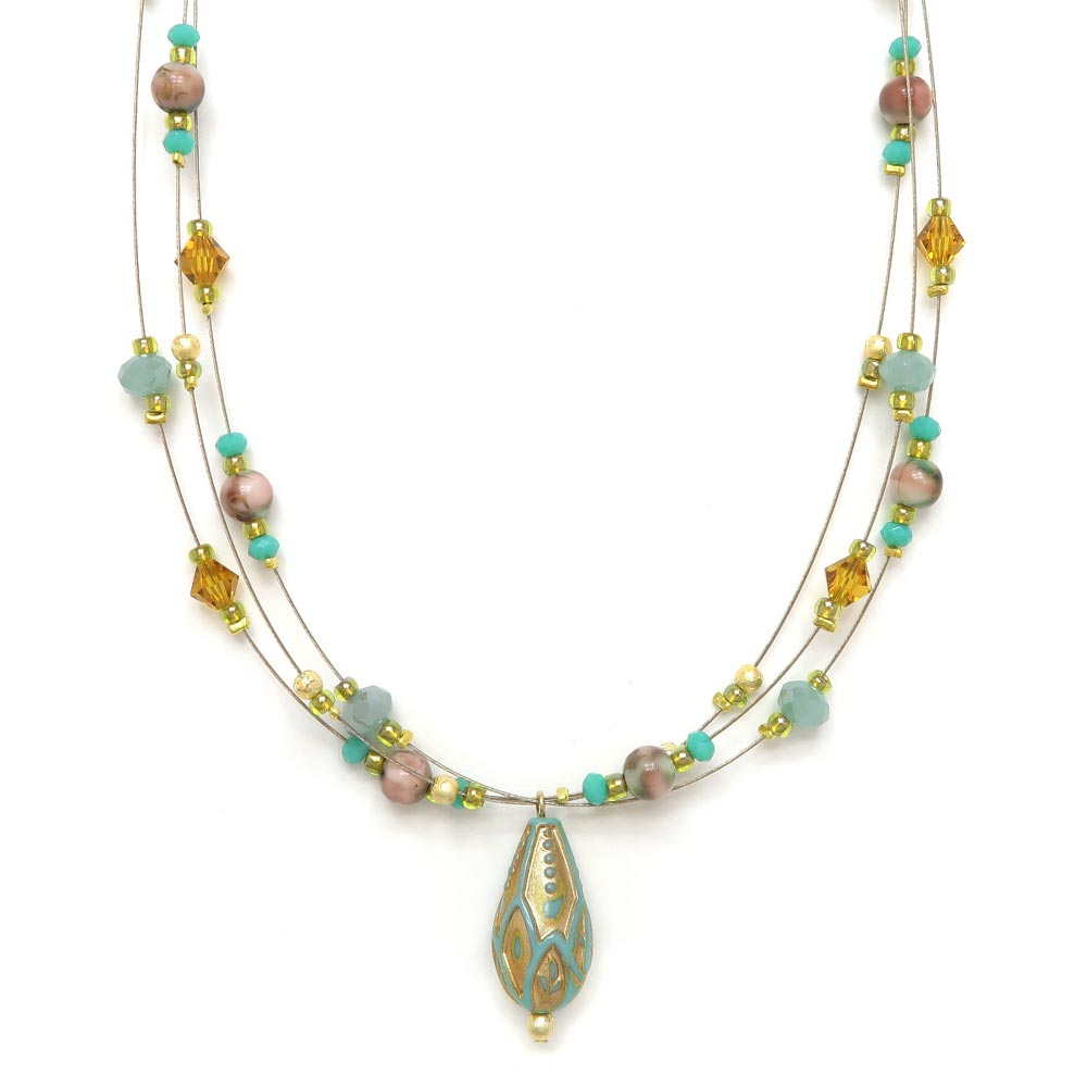 Acrylic Turquoise Layered Wire Necklace - Osewaya