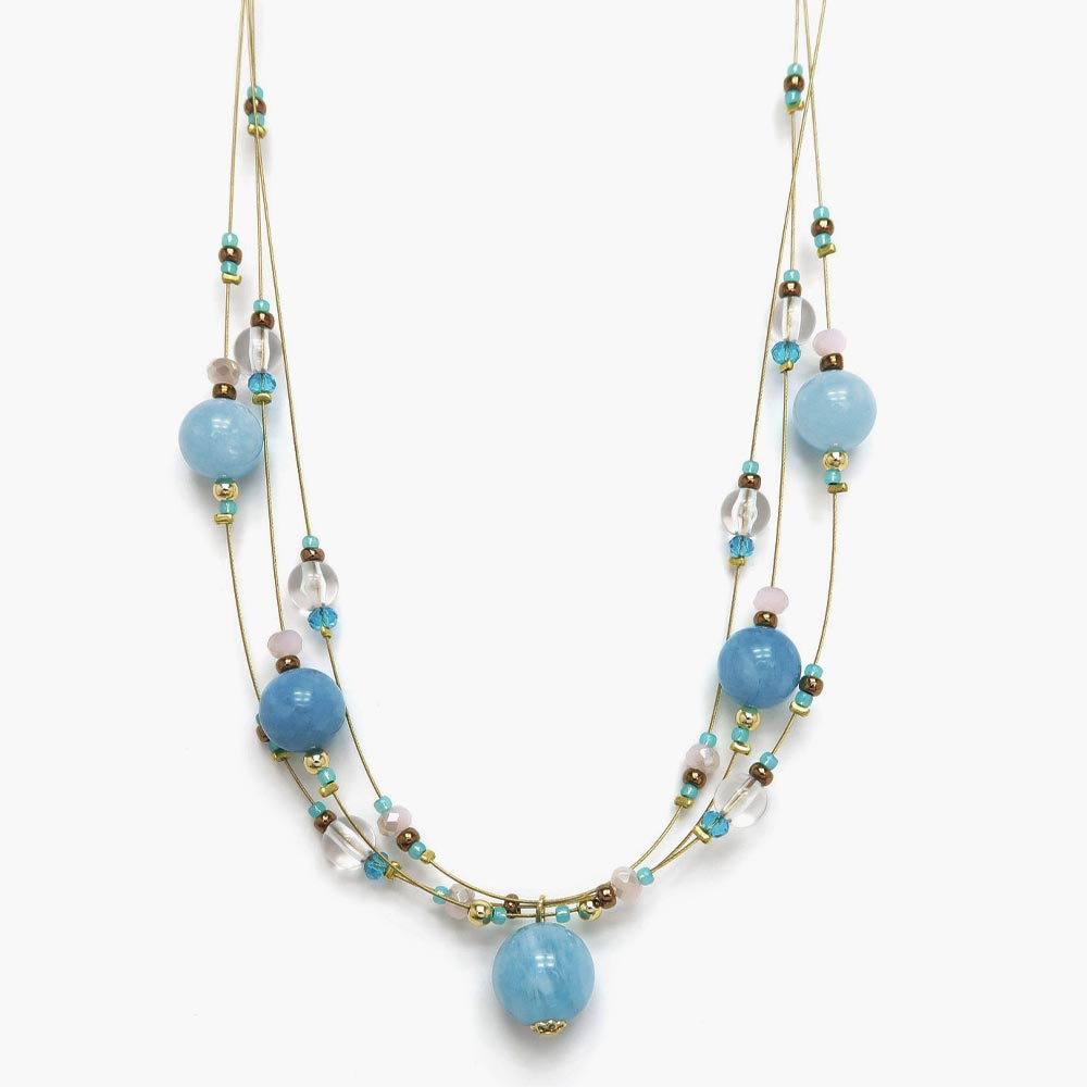 Blue Beads Layered Wire Necklace - Osewaya