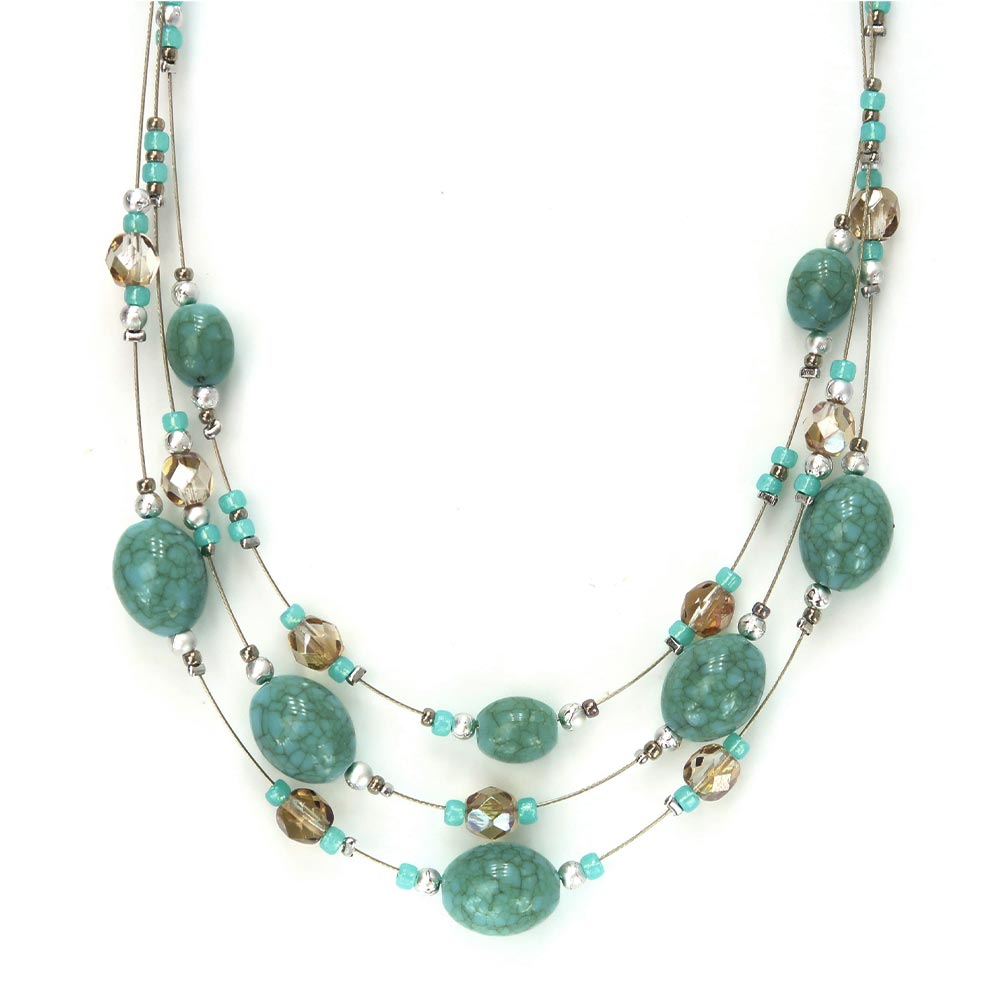 Blue Beads Triple Layer Necklace - Osewaya