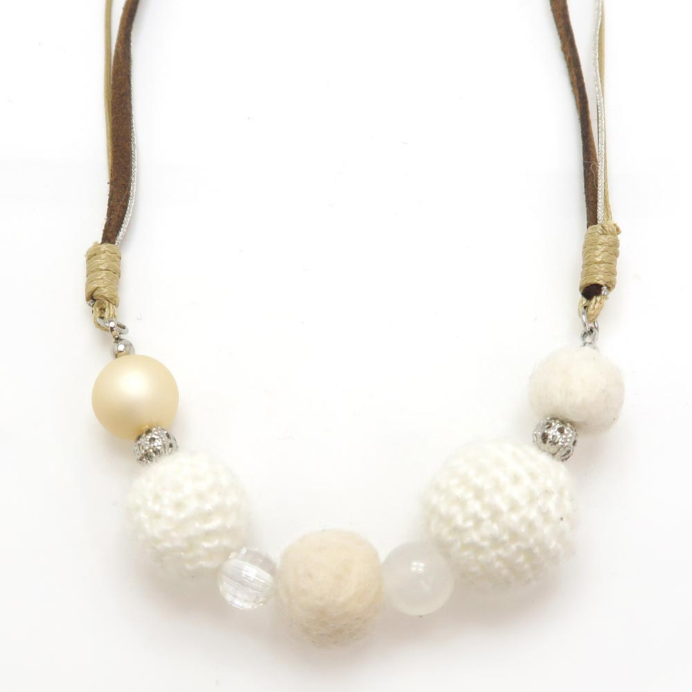 Knit Ball Pearl Beads Mix Charm Short Necklace - Osewaya