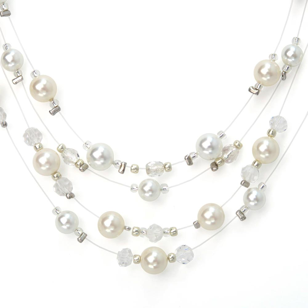 Magnet Clasp Bubble Pearl 4 Layered Short Necklace - Osewaya