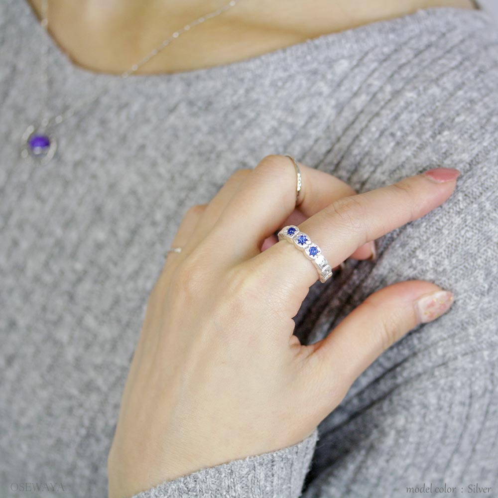Triple Blue Stars Distressed Look Ring - Osewaya