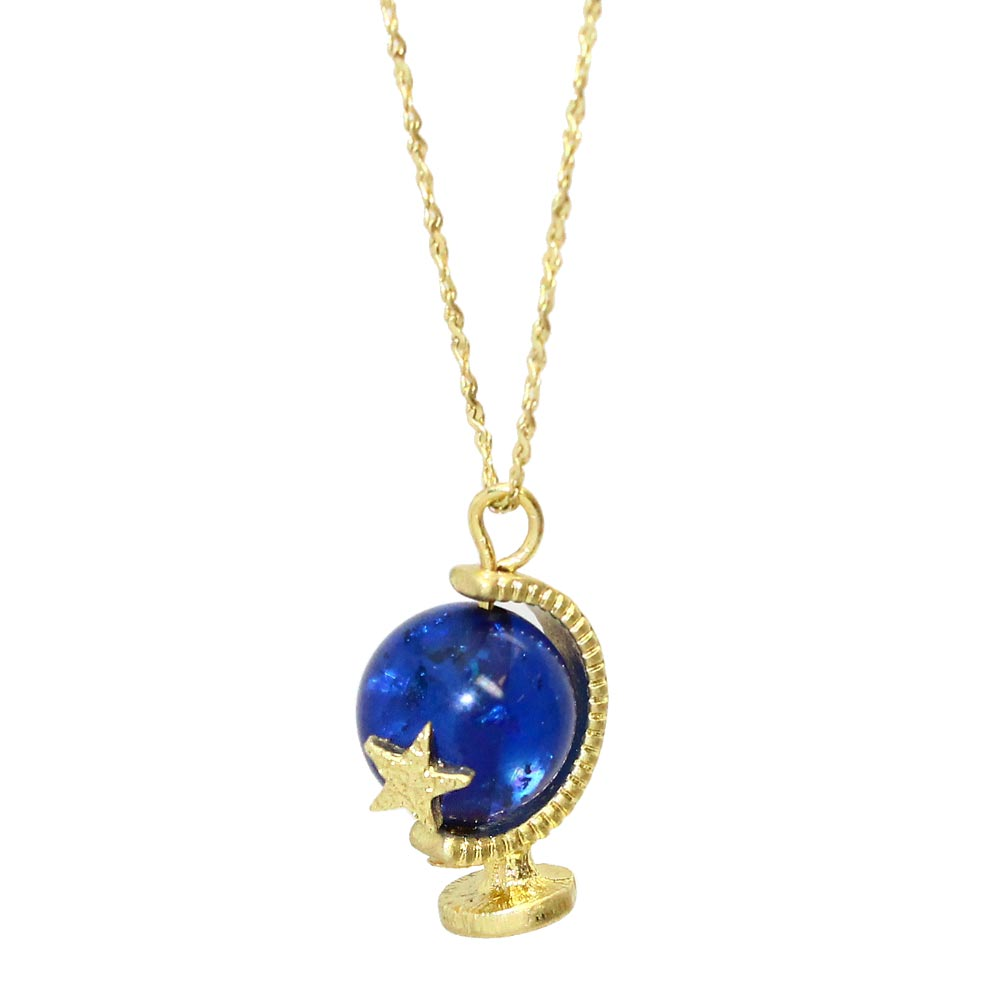 Blue Terrestrial Globe Necklace - Osewaya