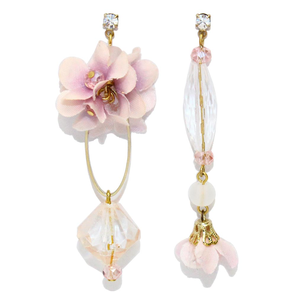 Acrylic and Flower Asymmetry Dangle Earrings - osewaya