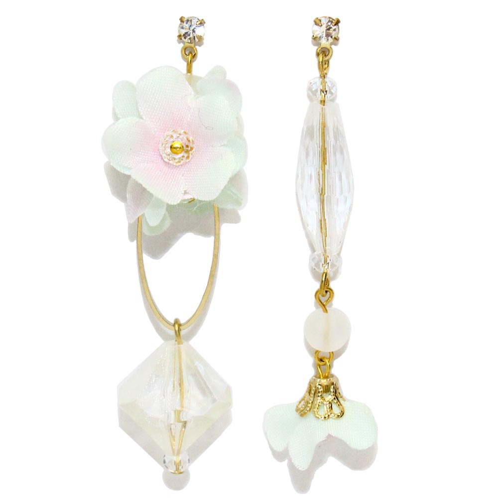 Acrylic and Flower Asymmetry Dangle Earrings