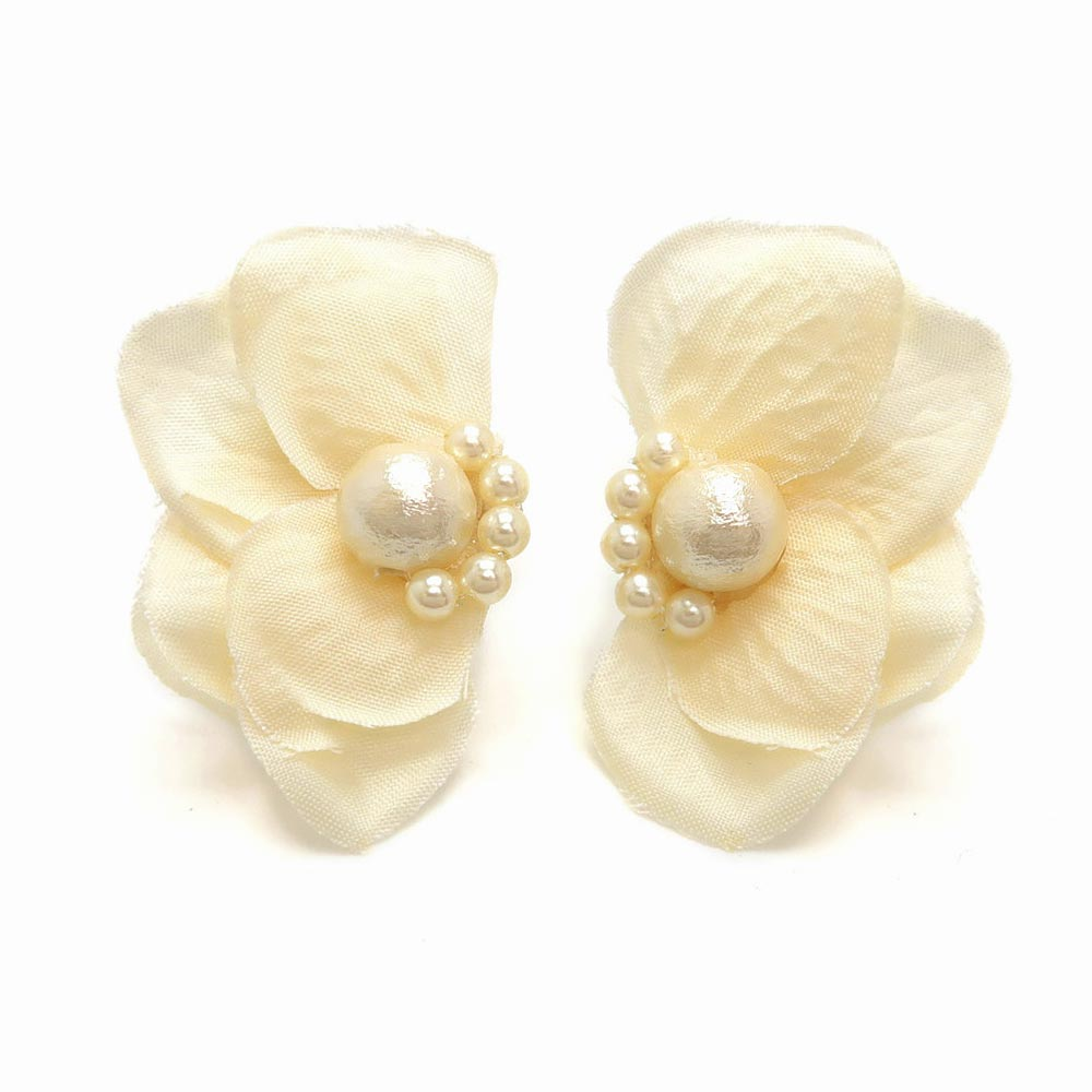 Delicate Flower Petal and Cotton Pearl Earrings - osewaya