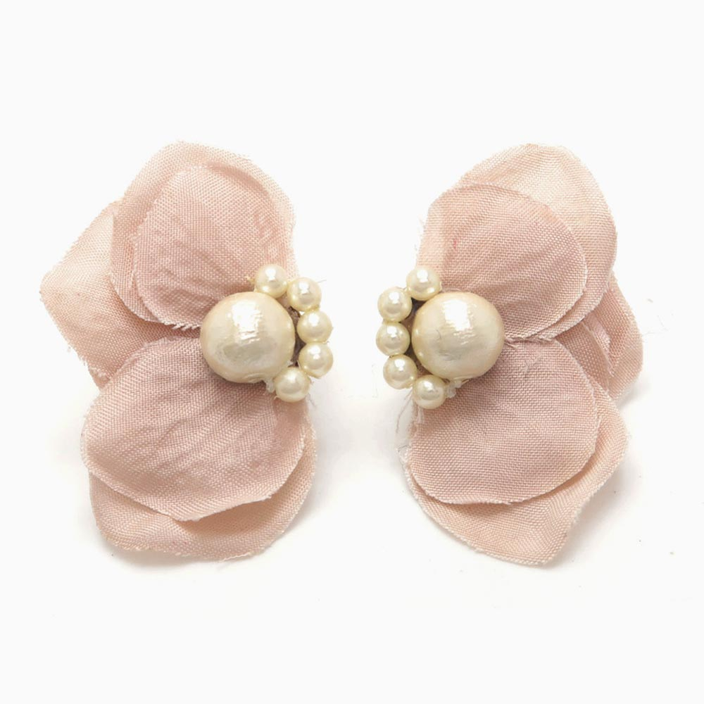 Delicate Flower Petal and Cotton Pearl Earrings
