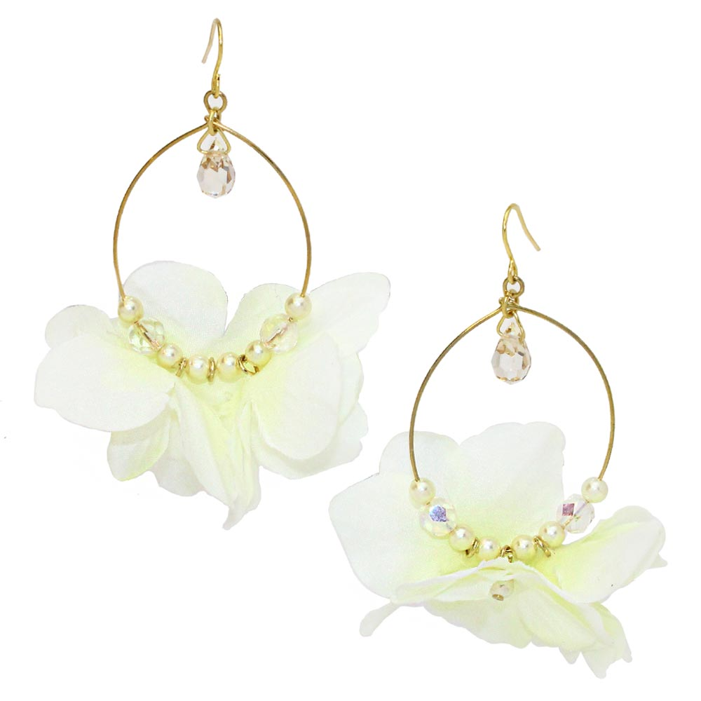 Pastel Flower Beading Hoop Hook Earrings - osewaya