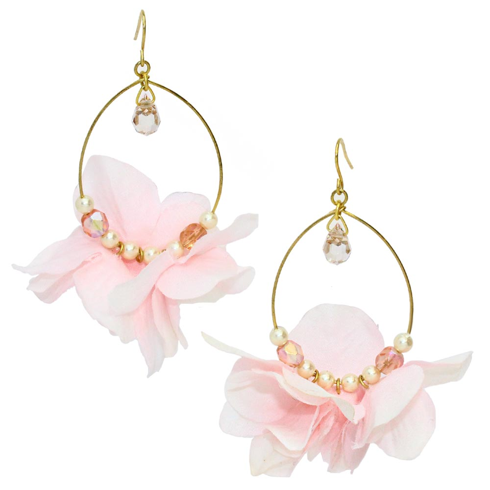Pastel Flower Beading Hoop Hook Earrings