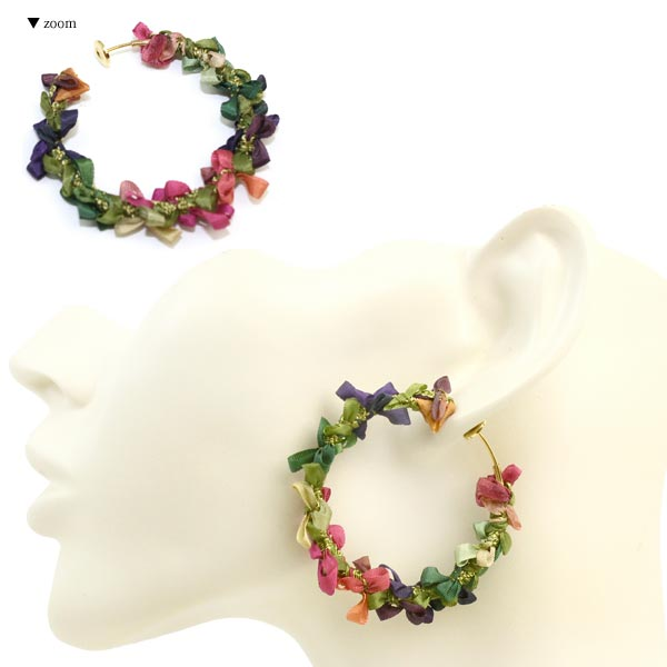 Ribbon Wreath Non Pierced Earrings