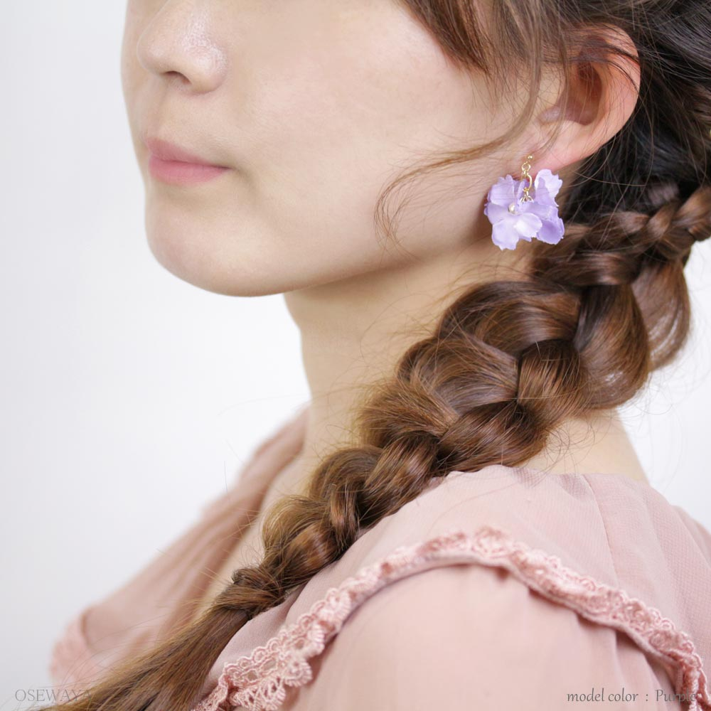 Delicate Flower Dangle Invisible Clip on Asymmetry Earrings