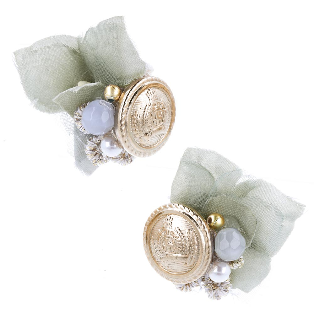 Flower and Antique Metal Button Earrings