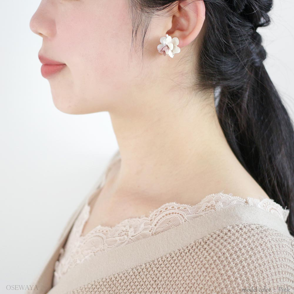 Lace and Flower Dangle Crystal Earrings - Osewaya