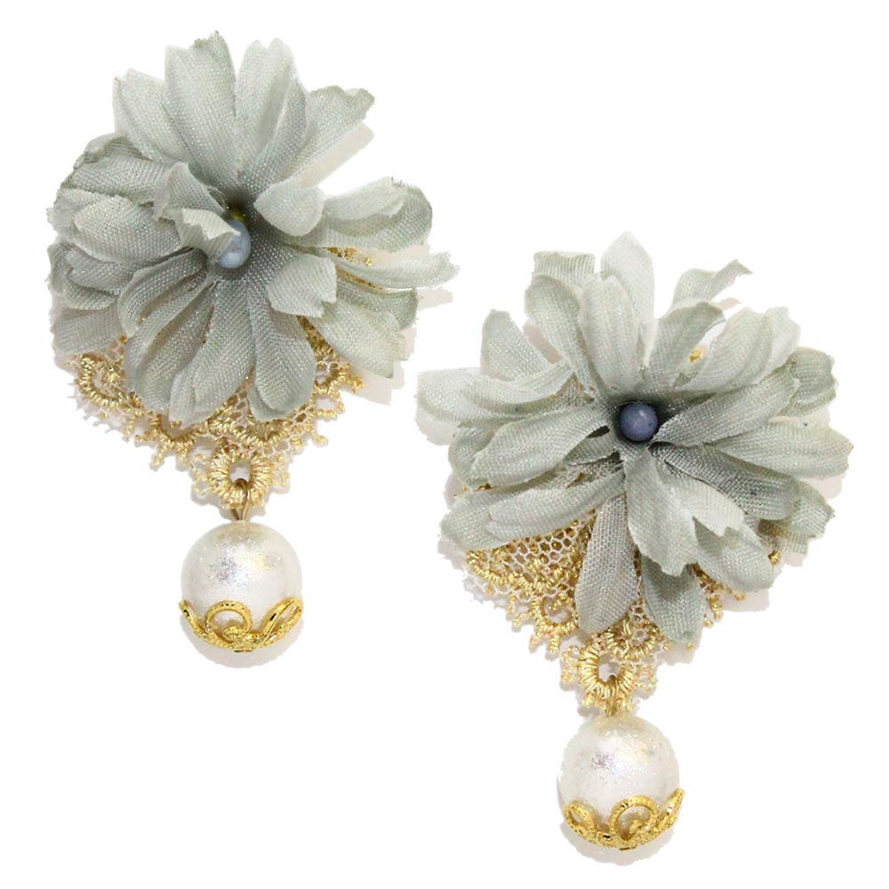 Lace and Flower Dangle Pearl Earrings