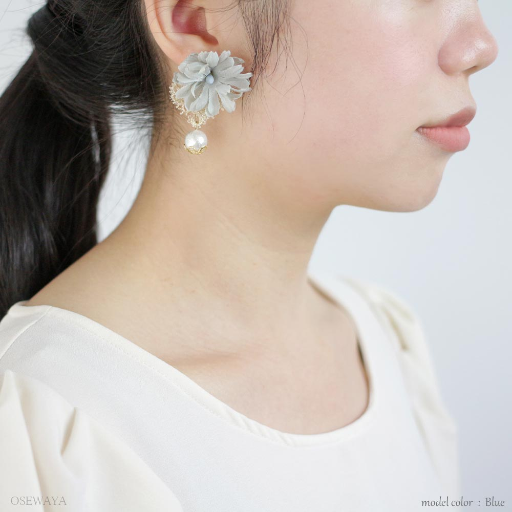 Lace and Flower Dangle Pearl Earrings - Osewaya