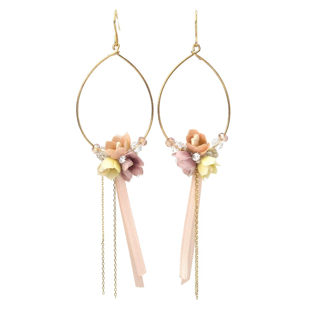 Bow Bouquet Hoop Girlish Earrings