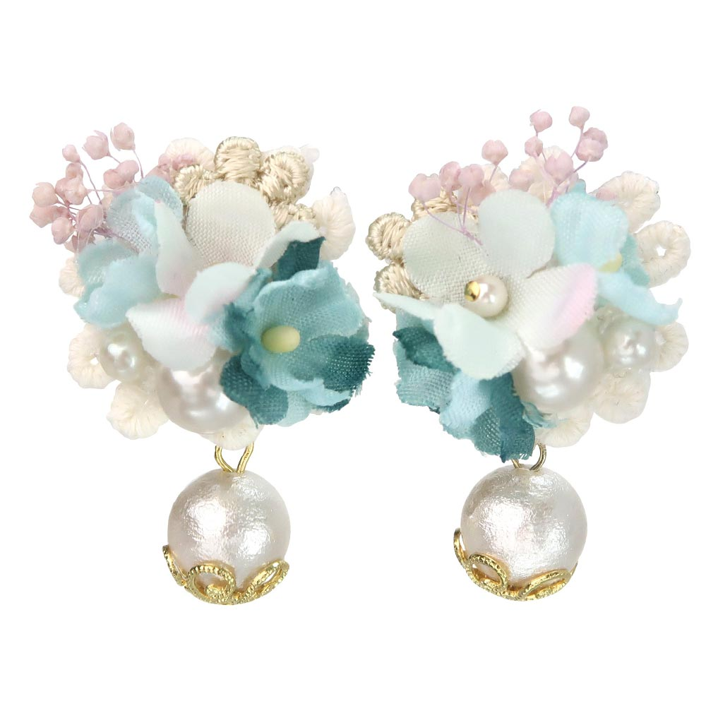 Romantic Bouquet Dropped Cotton Pearl Clip On Earrings