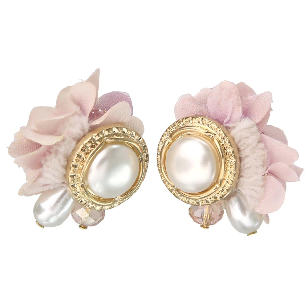 Flower and Pearl Button Clip On Earrings