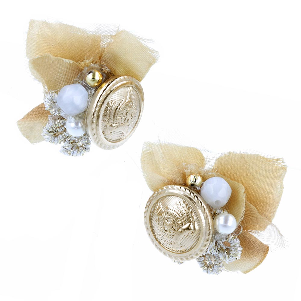 Flower and Antique Metal Button Clip On Earrings - osewaya