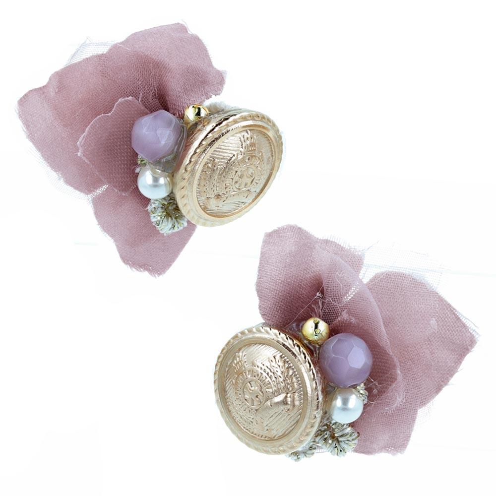 Flower and Antique Metal Button Clip On Earrings