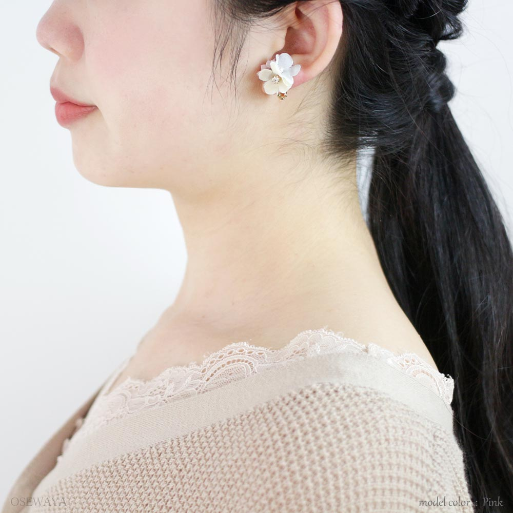 Lace and Flower Dangle Crystal Clip On Earrings