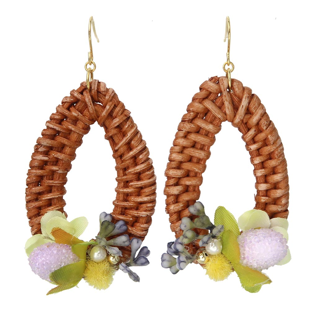 Rattan Drop Earrings with Flowers and Berries
