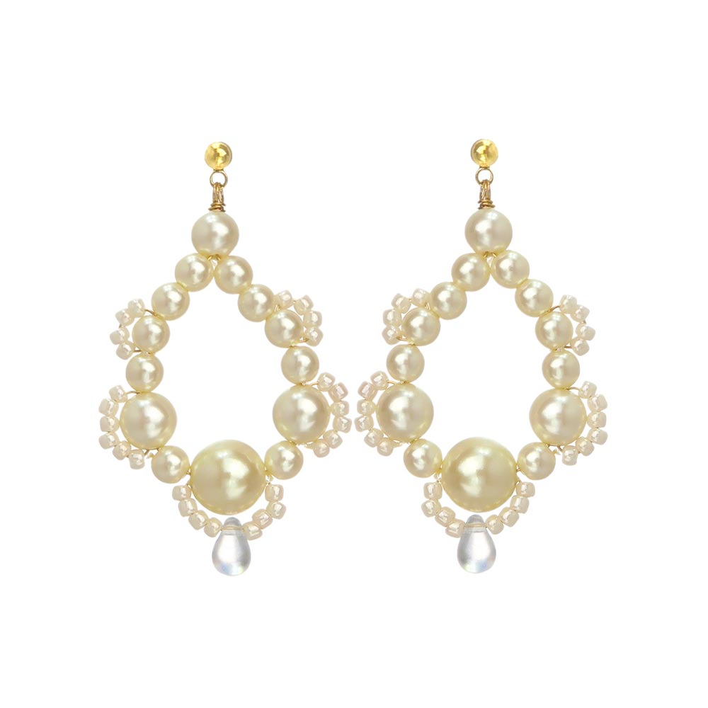 Pearl Pave Hoop Earrings - Osewaya