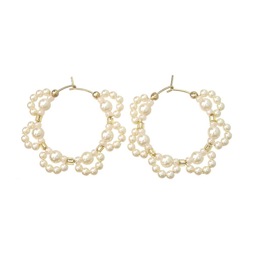 Pearl Scallop Hoop Earrings - Osewaya