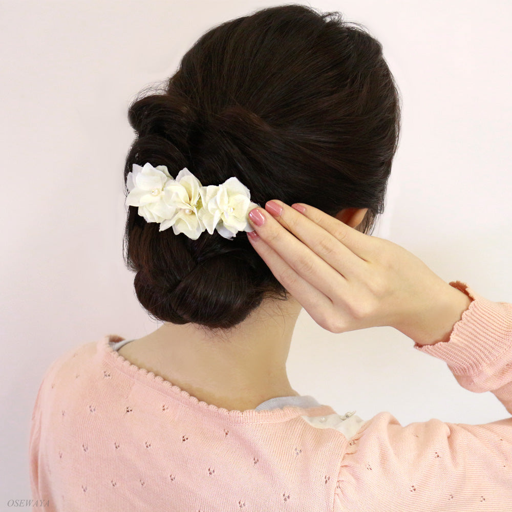 Artificial Flower Pearl Accent Hair Barrette