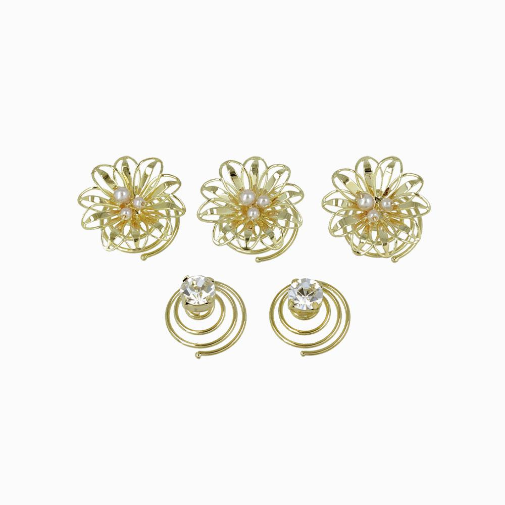 Filigree Flower Spiral Hairpin Hair Charm Set - osewaya