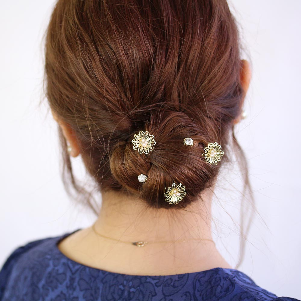 Filigree Flower Spiral Hairpin Hair Charm Set
