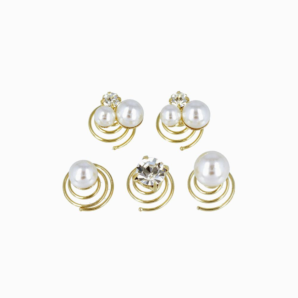 Pearl and Crystal Spiral Hairpin Hair Charm Set - osewaya