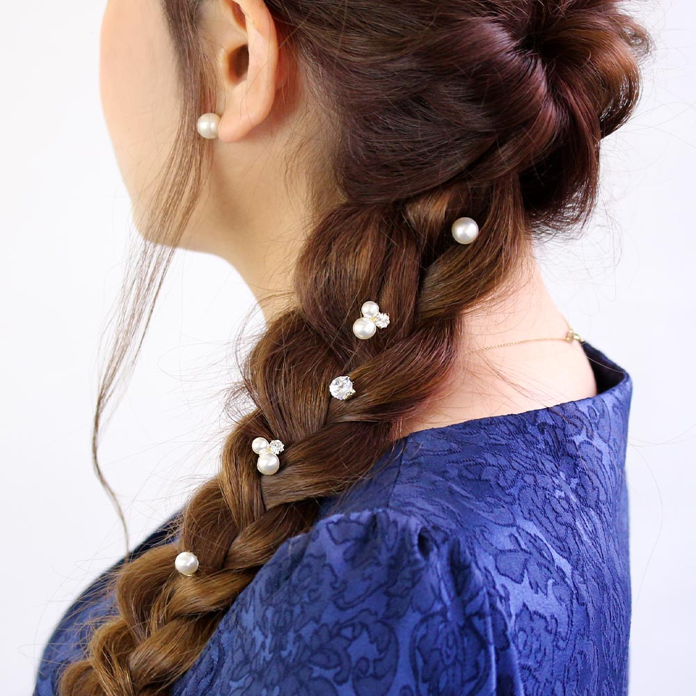 Pearl and Crystal Spiral Hairpin Hair Charm Set