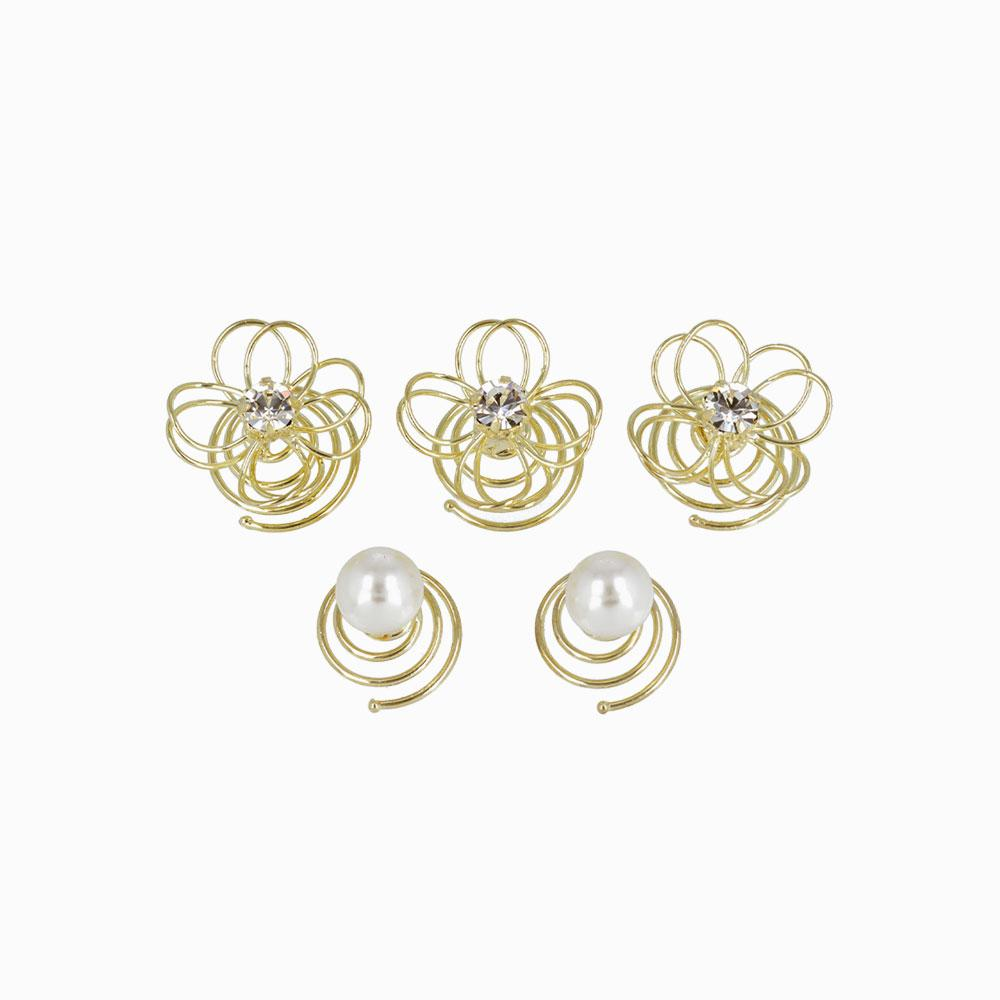 Filigree Flower  and Pearl Spiral Hairpin Hair Charm Set - osewaya
