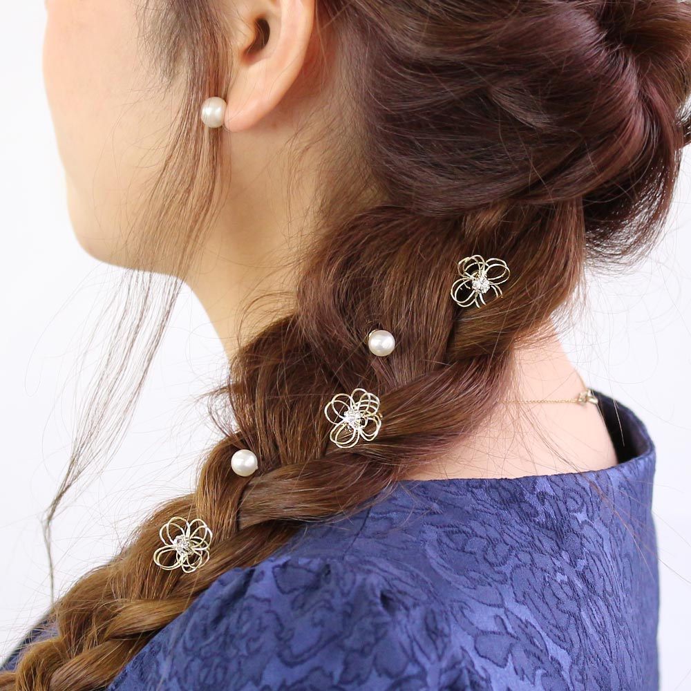 Filigree Flower  and Pearl Spiral Hairpin Hair Charm Set