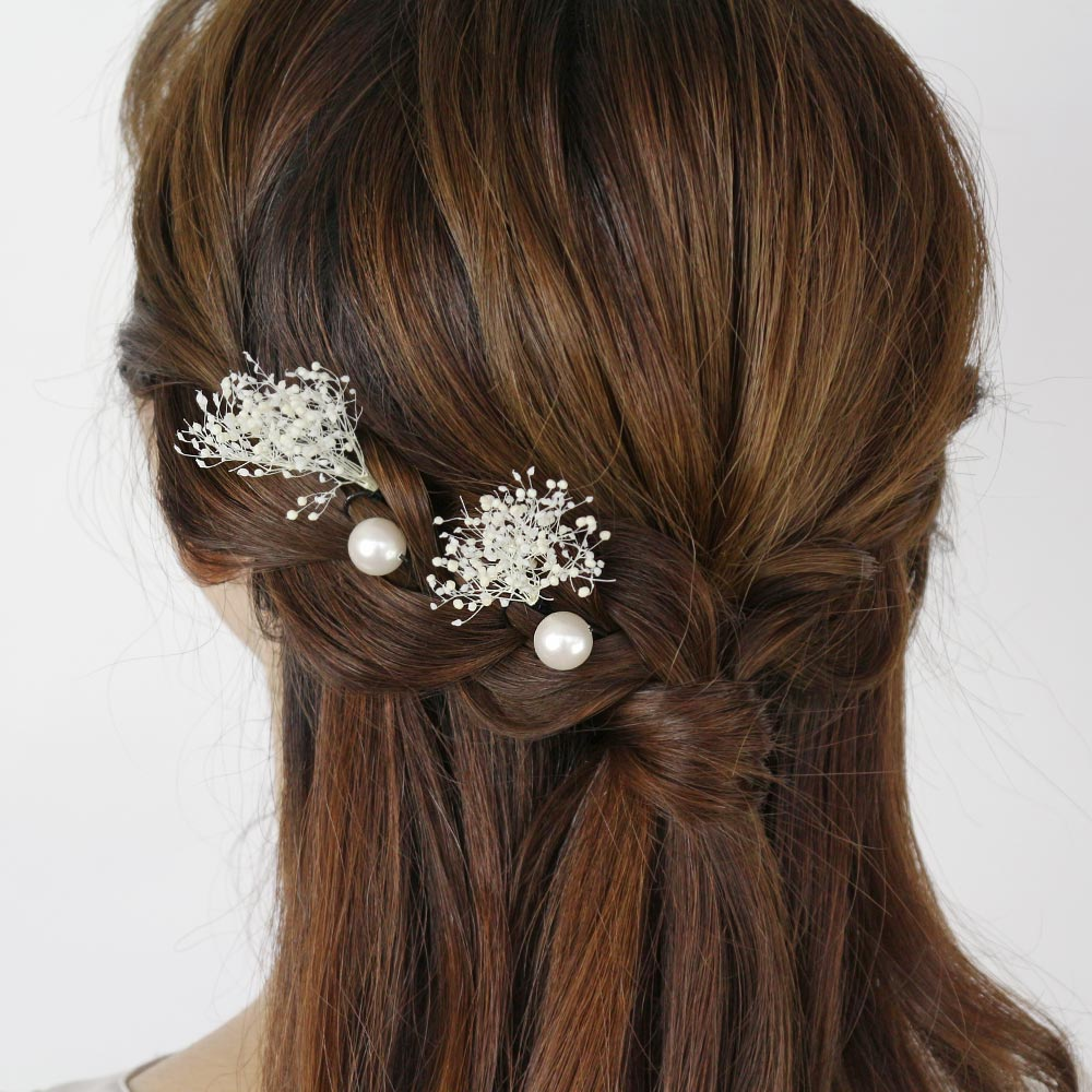 Gypsophila and Pearl Hairpin Set - Osewaya