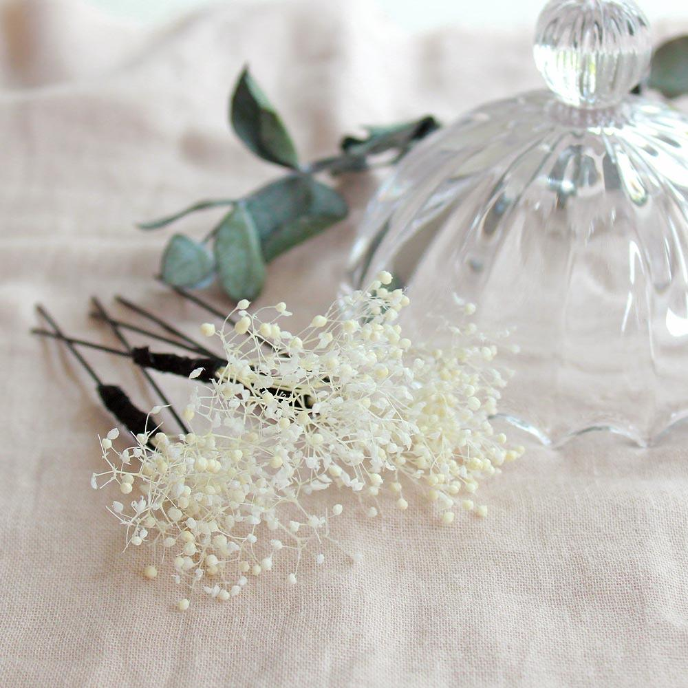 White Gypsophila U Shaped Hairpin Set - Osewaya