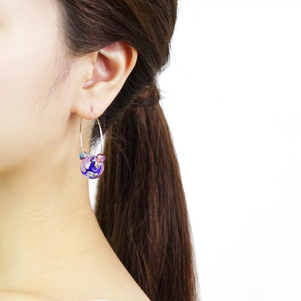Japan Decoration Beads Hoop Earrings - Osewaya