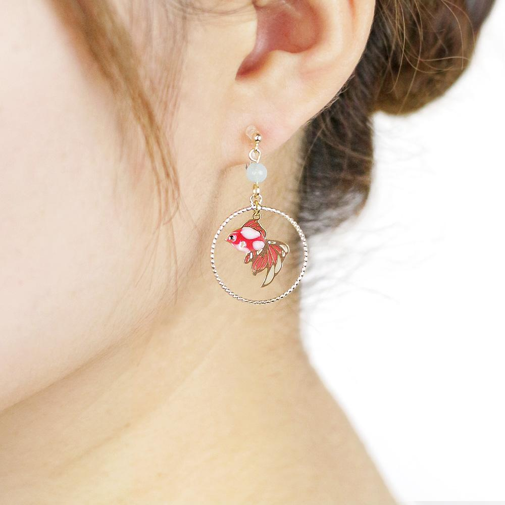 Goldfish Hoop Invisible Clip On  Japanese Inspired Earrings