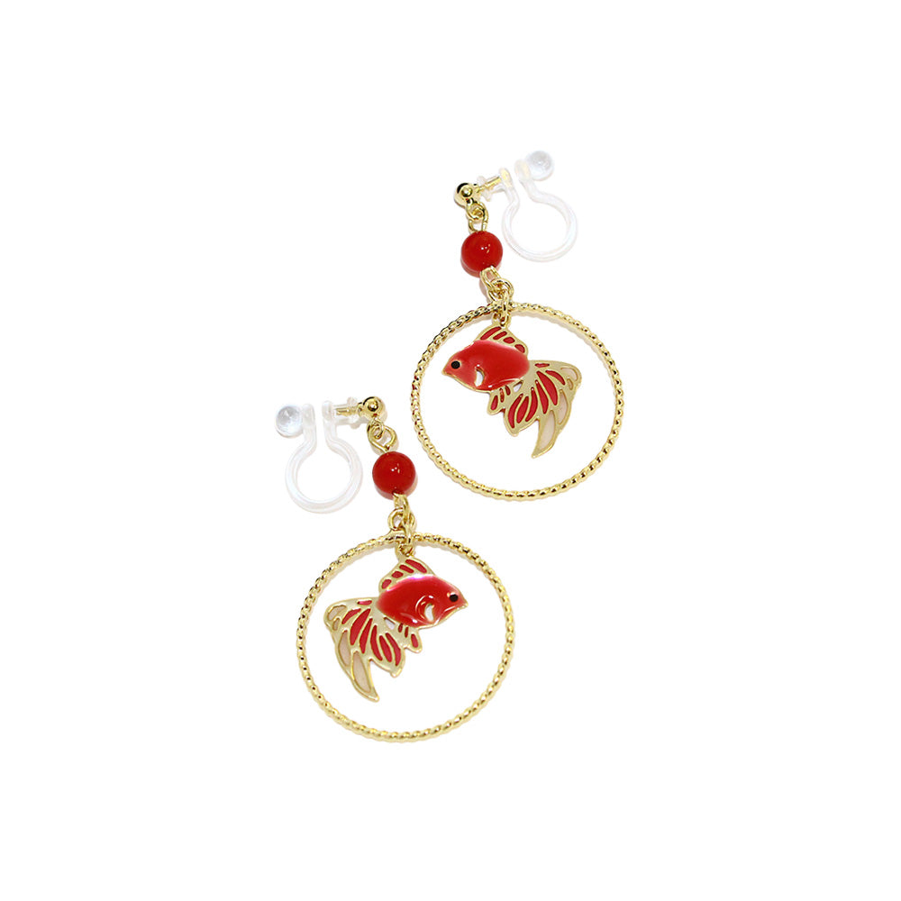 Goldfish Hoop Invisible Clip On  Japanese Inspired Earrings - Osewaya
