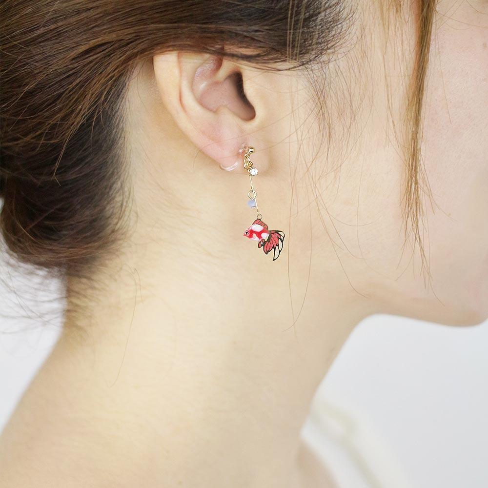Elegant Goldfish Invisible Clip On Japanese Inspired Earrings