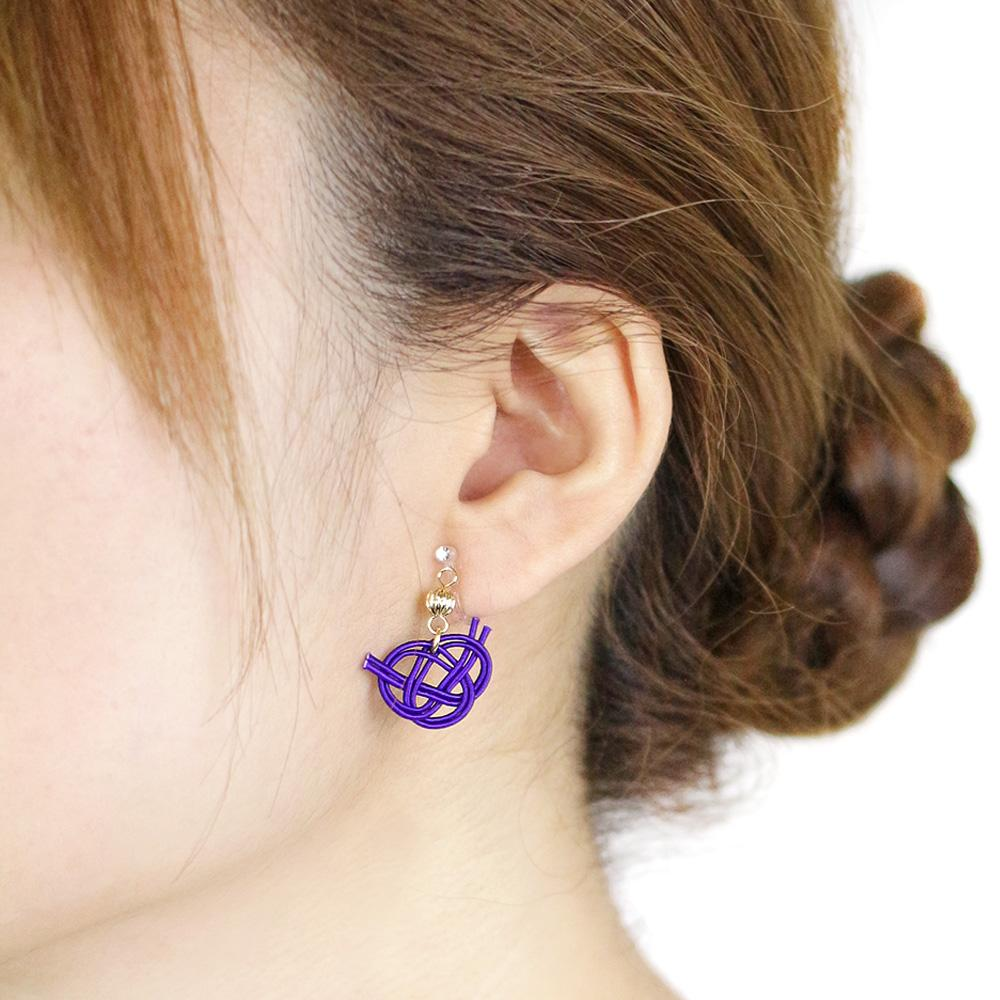 Japan Traditional Cord Decorative Knot Invisible Clip On Earrings - Osewaya