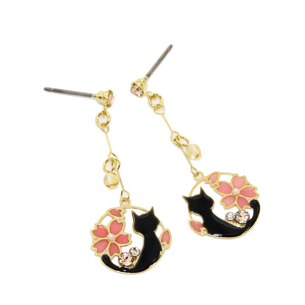 Sakura and Cat Openwork Earrings - Osewaya
