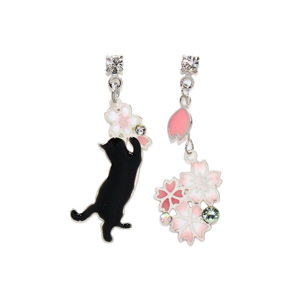 Sakura and Cat Dangle Earrings - Osewaya