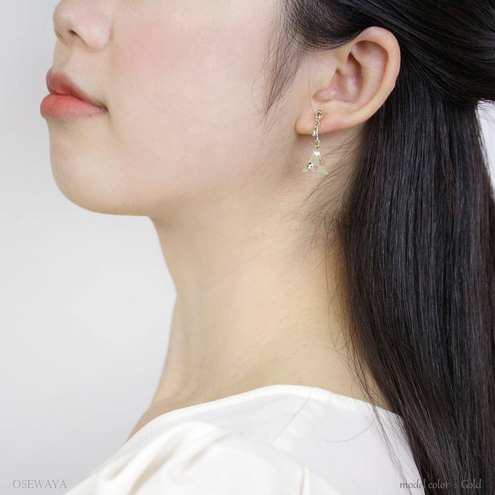 Mount Fuji and Sakura Japanese Motifs Asymmetry Invisible Clip On Earrings
