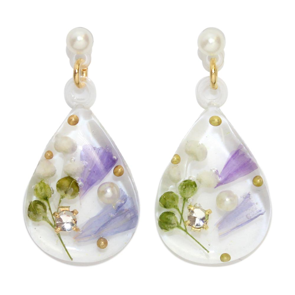 Flower Inclusion Teardrop Earrings - Osewaya