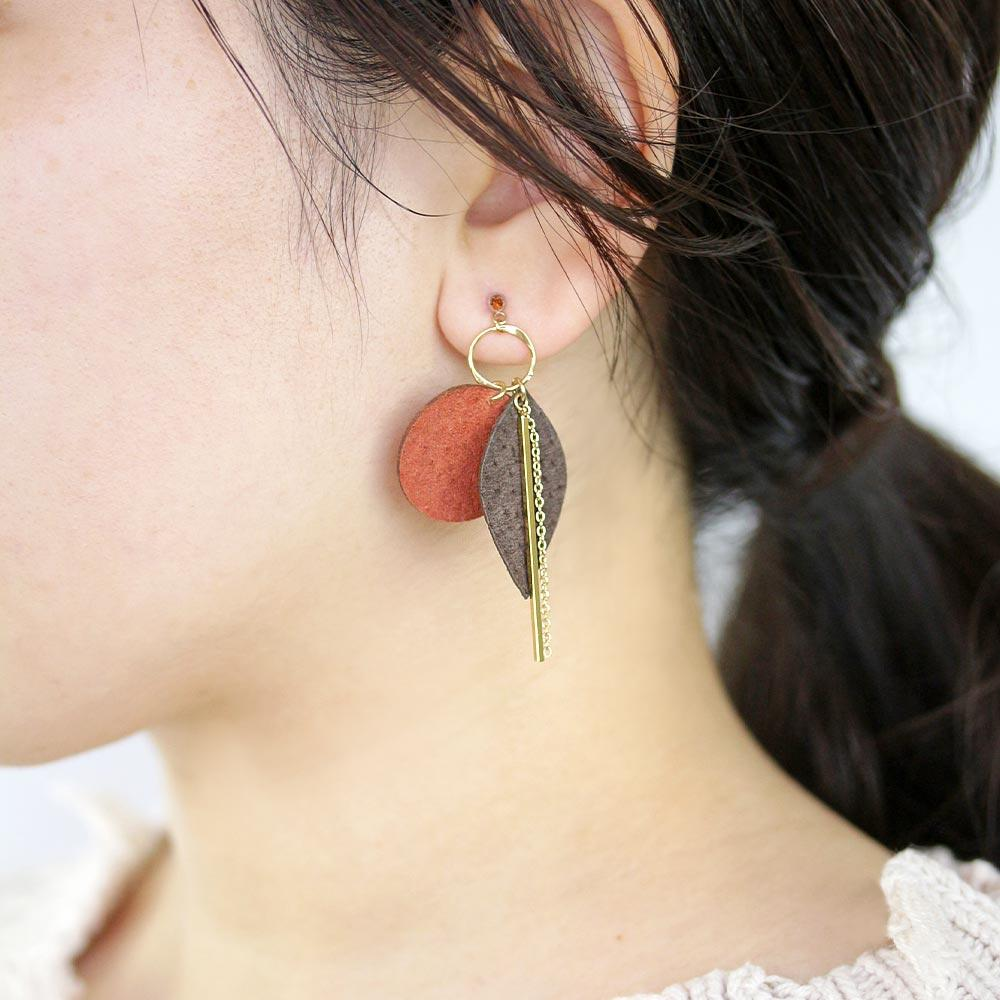 Oval Leather Dangle Earrings - Osewaya