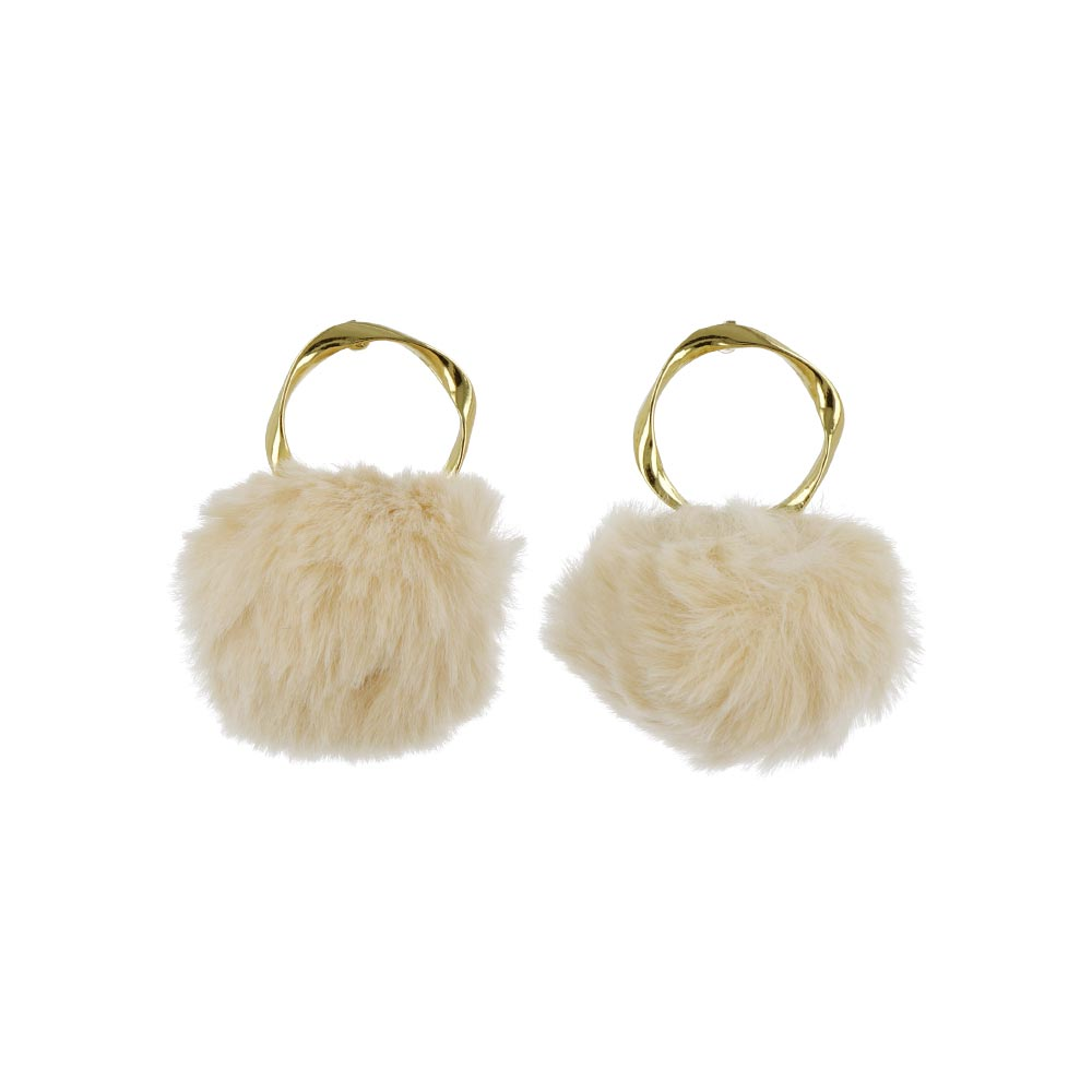 Metallic Hoop Pom Pom Earrings - Osewaya